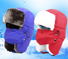 Free Shipping 2016 New Kids Children Fashion Winter Ski Russian Red Yellow Fur Trapper Hats With Ear Flap Masks For Boys Girls (China (Mainland))