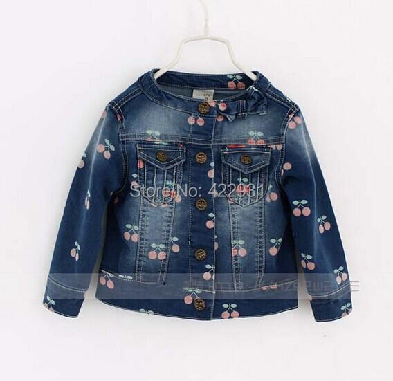 2015 spring autumn new designer baby girl kids jackets lovely girls denim jacketcherry pattern casual sweet toddler girls coat(China (Mainland))