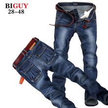 Big Guy Store Large Plus Size 42 44 46 48 Blue Elastic Men Jeans Slim Fit Straight Denim Pants cheap Men's Jean Skinny Homme