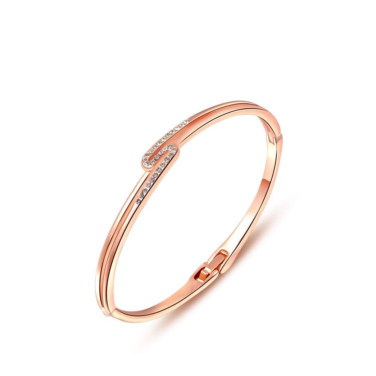 2014 New Fashion Rose golden Simple Inlay stone Charm Bracelet & Bangle For Women Fashion Jewelry ROXB036(China (Mainland))