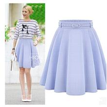 2016 Summer New Casual Fashion Vintage Elegant Pleated A Line Elastic High Waist Belt Waistband Women Midi Tutu Skirt OL Lady