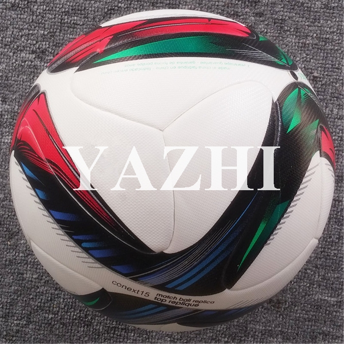 2015 Hot Sale A++ European Qualifiers Balls Conext 15 Soccer Ball PU Laminated Official Weight Size 5 Football Match Training(China (Mainland))