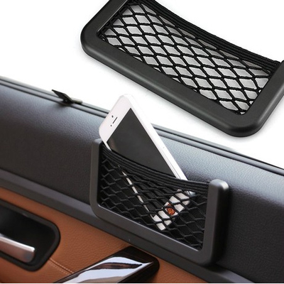 Hot Car Net Bag Car Organizer Nets 15X8cm Automotive Pockets With Adhesive Visor Car Bag Storage for tools Mobile phone(China (Mainland))