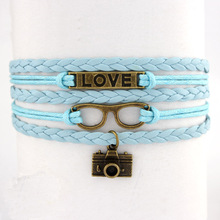 New Arrival Brown Vintage Endless Love Copper Glasses Camera Rope Leather Bangle Bracelets for Women Fashion Jewelry(China (Mainland))