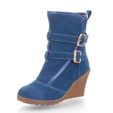 LapoLaka Hebilla Lazos Mujer Añadir Botas de Nieve de Invierno de Piel Zapatos de Las Mujeres Altas Cuñas de Tacón Zapatos de Invierno(China (Mainland))