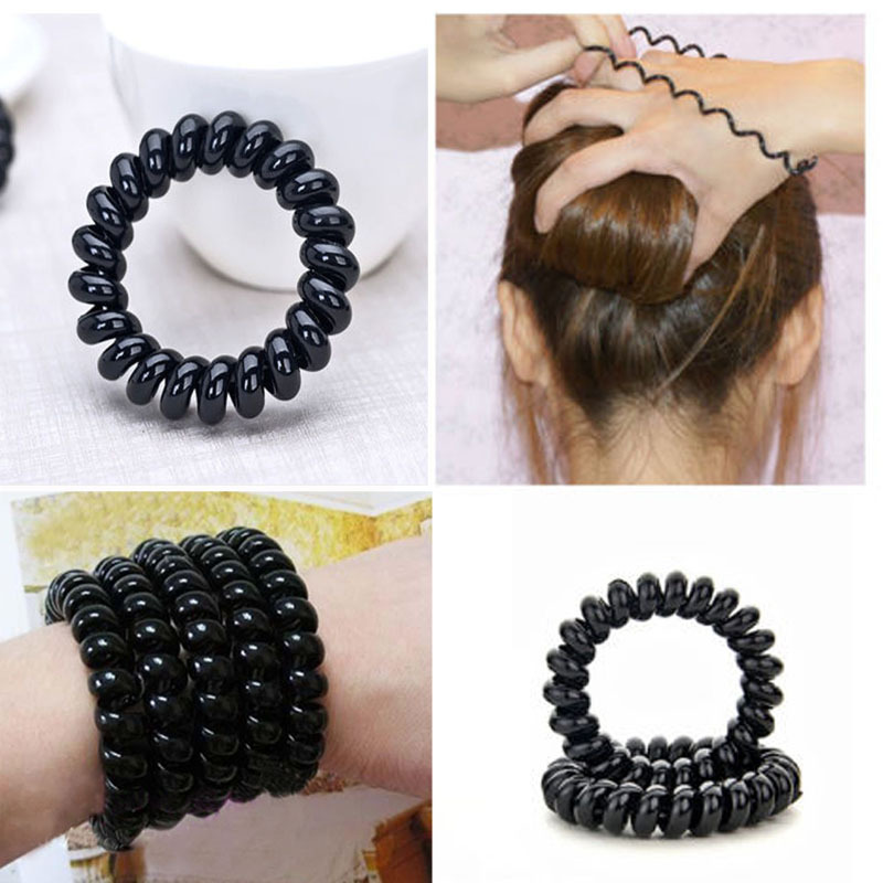 1 PCS New Black Elastic Girl Rubber Telephone Wire Style Hair Ties & Plastic Rope(China (Mainland))