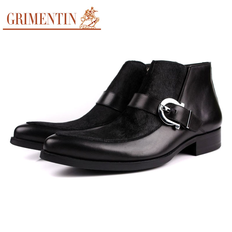 2016 Europe winter luxury cool fashion men ankle Boots genuine leather black man shoes with buckle for wedding larger size11#620(China (Mainland))