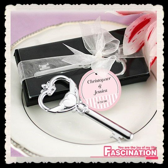 Whoesale 100pcs/lot HIGH QUALITY alloy bottle opener victoria 'Key to My Heart' wedding party favor,gift packaging,FREE SHIPPING