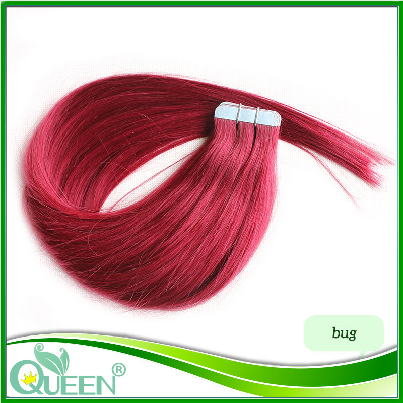 Tape Hair Extensions 6A Skin Weft Tape In Human Hair Extensions 30G 40G 50G Burgundy Pink Blue Lila Red Tape in Human Hair<br><br>Aliexpress