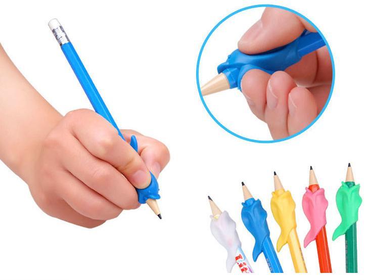 Гаджет  High Quality Silicon 5Pcs/lot Best Gift Dolphin Fish Style Children Pencil Students Hold a Pen writing Posture Correction None Офисные и Школьные принадлежности