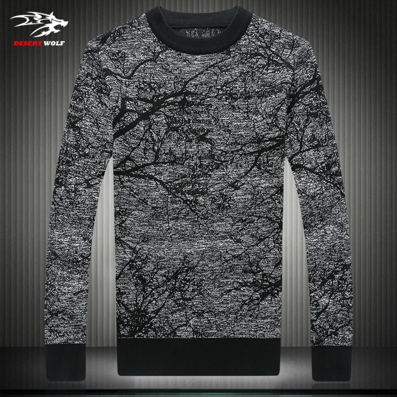 2016 new hot fashion casual sweater men printed long-sleeved sweater men sweater temperament 4XL(China (Mainland))