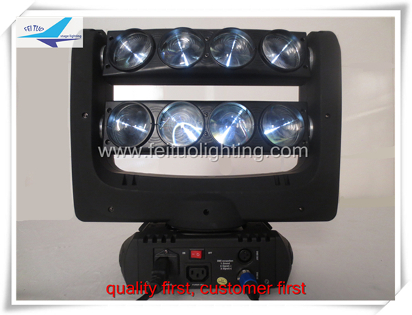Free shipping (10/lot) cob cannon 8x10w spider stage light,white 80w led beam spider stage light(China (Mainland))