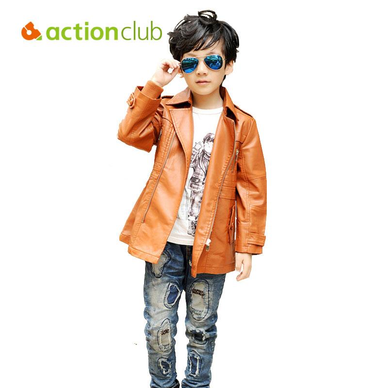 High Quality Autumn Cool Boys Black Zipper Leather Jacket Long Sleeved Outdoor Kids Clothing Christmas Gift Free Shipping KU914(China (Mainland))