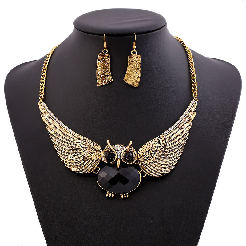 Fashion Classic Romantic The Owl Short Big Crystal Chain Link Chokers Necklaces & Earrings Jewelry Sets Accessories Wholesale