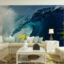 Custom home decor wall murals papel de parede ocean waves photo wallpaper mural for living room bedroom tv sofa background decal
