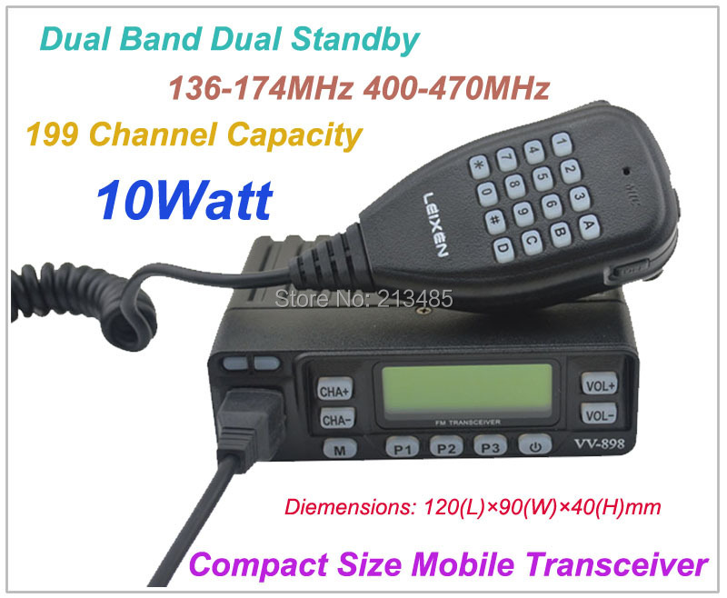 VV-898 Compact Size Dual Band 10Watt Car radio Mobile Radio Transceiver 136-174MHz&400-470MHz