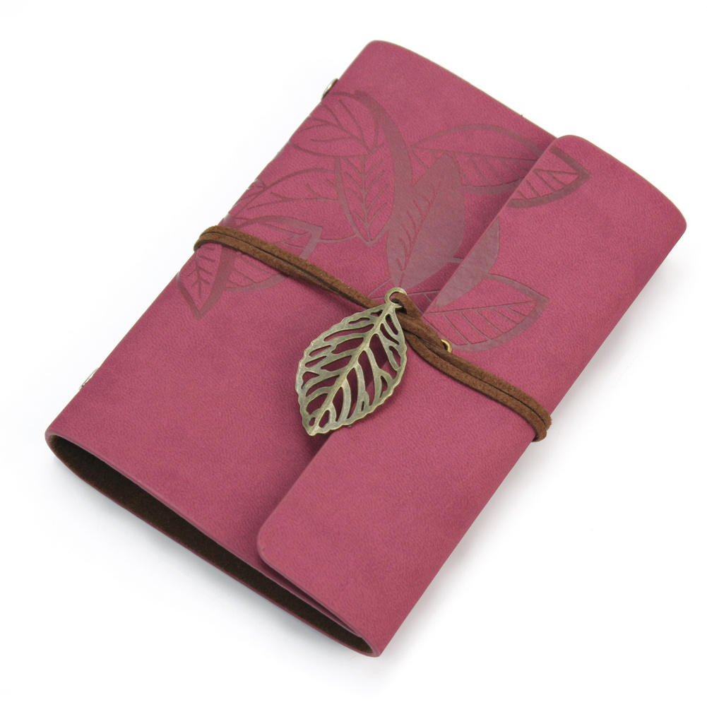 Vintage 1 x Wine Red Notebook Planner Book Filofax Diary Notebook PU Leather 86 sheets 6 Ring Binders Loose-leaf 16*14.7cm(China (Mainland))
