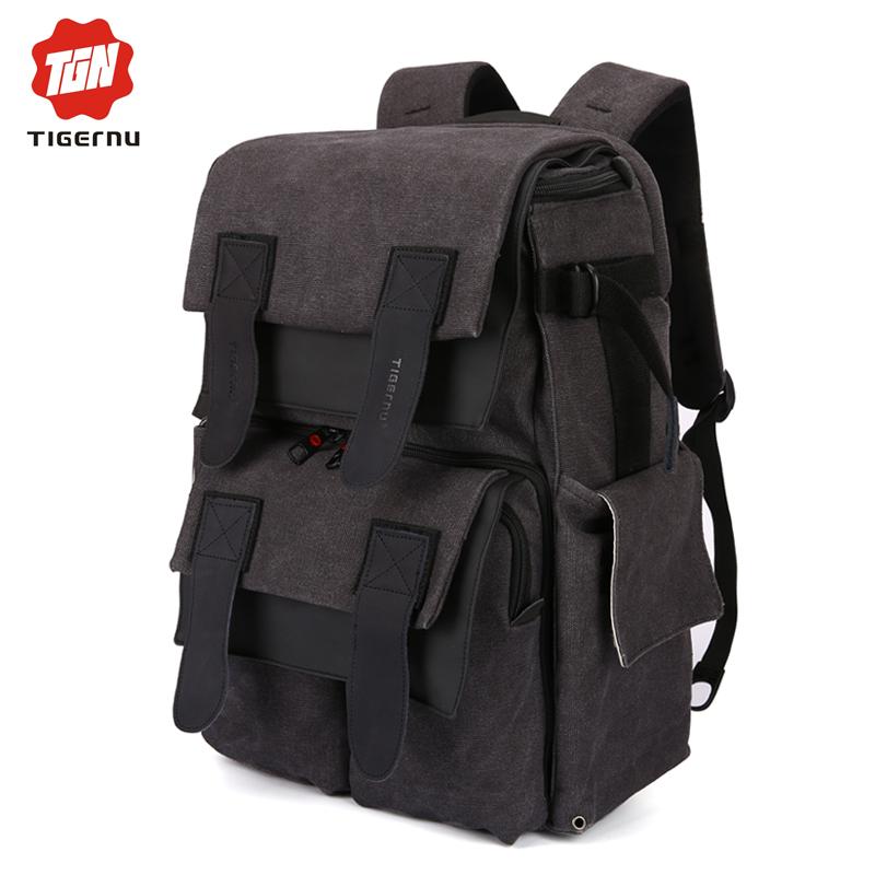 Фотография 2016 New Multifunction Man Camera Laptop Backpack Leather Canvas Waterproof DSLR Camera Bag 15.6 Laptop Backpack Bag For Women