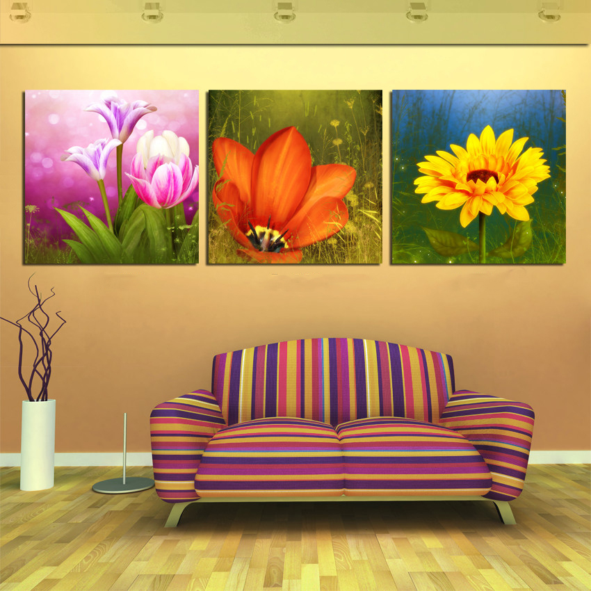 3 piece canvas wall art office art pictures flower fruit for Dining room wall art canvas