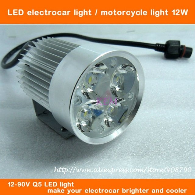 Free shipping !!! hot sell super bright 12W LED electric car lamp Motorcycle LED light motorcycle headlight 12V-90V