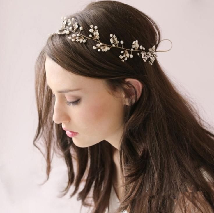 Pearl Crystal Gold Wedding Headband Hair Accessories Bridal Headwear Hair Jewelry Rhinestone Head Chain Headpiece WIGO0410(China (Mainland))