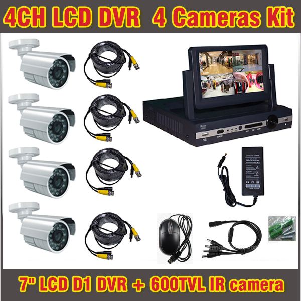 "Здесь можно купить  7"" Lcd D1 DVR 600TVL 4 channel D1 recorder Kit 4ch Home DIY CCTV system outdoor Waterproof Camera Surveillance Video System  Безопасность и защита"