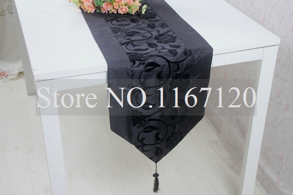 Free shipping,5pcs/lot New arrived Damask & Flocking Black Table Runner Wedding Table Favors195*33cm(ZQ11)(China (Mainland))