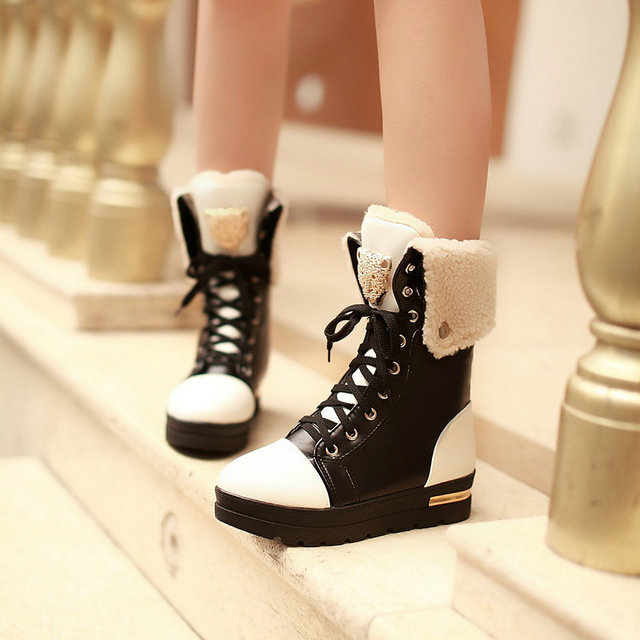 New women sexy flat platform snow boots women sweet lace up ankle boots mixed colors winter casual shoes woman(China (Mainland))