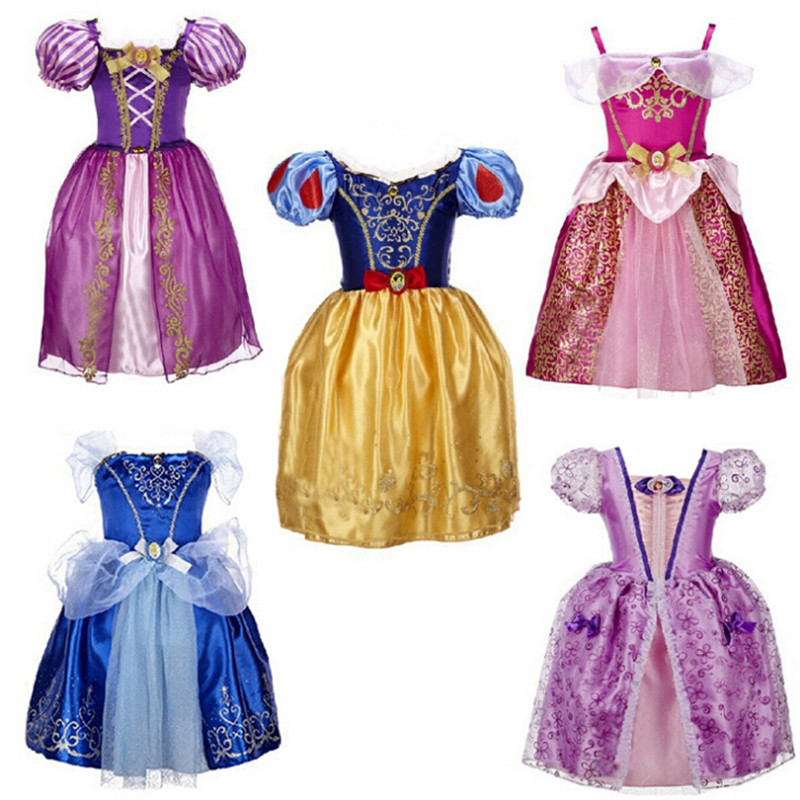 sale ! Sofia Cinderella Rapunzel Belle Snow White Girl Kid Dress Princess kids girls dresses cosplay Christmas Costume - Vivian Children Clothing store