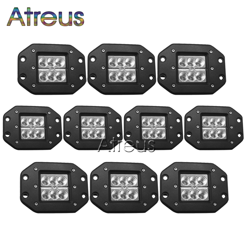 10pcs 4 inch CREE 18W High power 6x3W CREE LED Work Light 12V 1800LM Spot Flood For ATV Truck 4x4 OffRoad Car Driving Fog Lamp(China (Mainland))