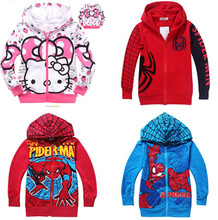 2014 Winter Boys Hoodie Jackets Children's Coat Spiderman coats for children Clothes Kitty Hoodie Kids cartoon baby outerwear(China (Mainland))