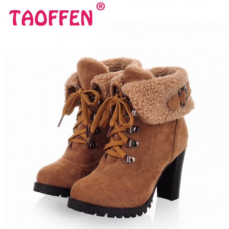 Mulheres de salto alto metade curto tornozelo botas de inverno martin botas de neve calçados de moda saltos quentes sapatos de inicialização AH195 tamanho 32 – 43
