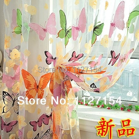 (Butterfly yarn) Rustic romantic curtain window screening customize finished products balcony screens(China (Mainland))