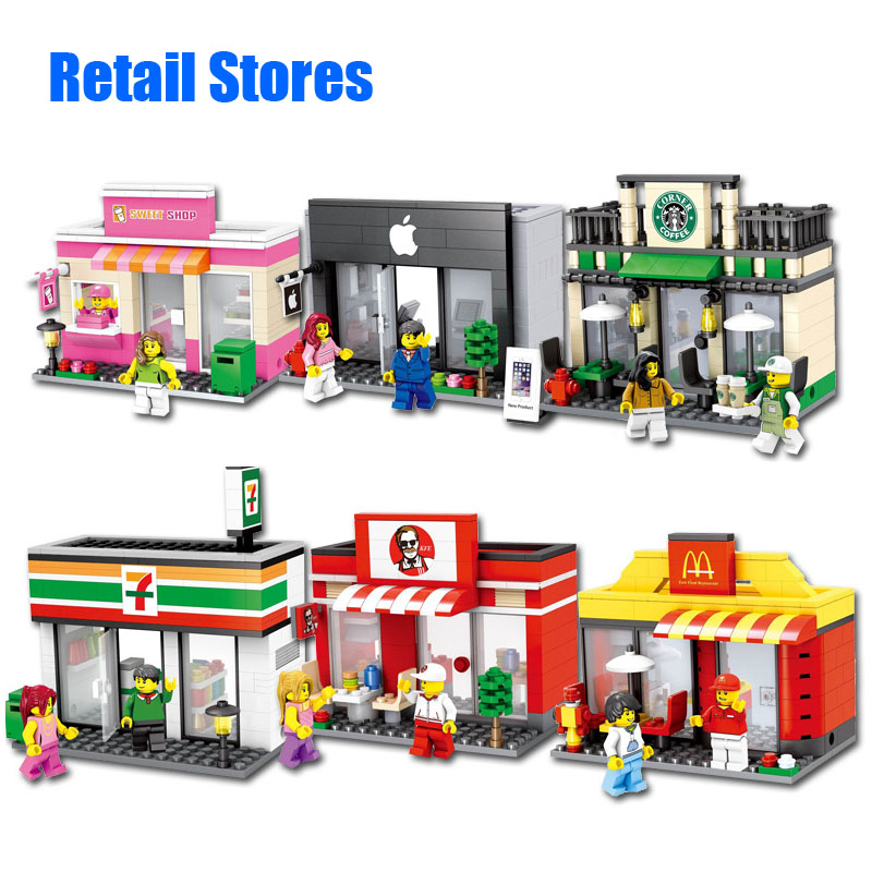 City Series Mini Street Model Store Shop with Minifigure Apple Store McDonald`s Building Block Toys Compatible with Lego Hsanhe(China (Mainland))