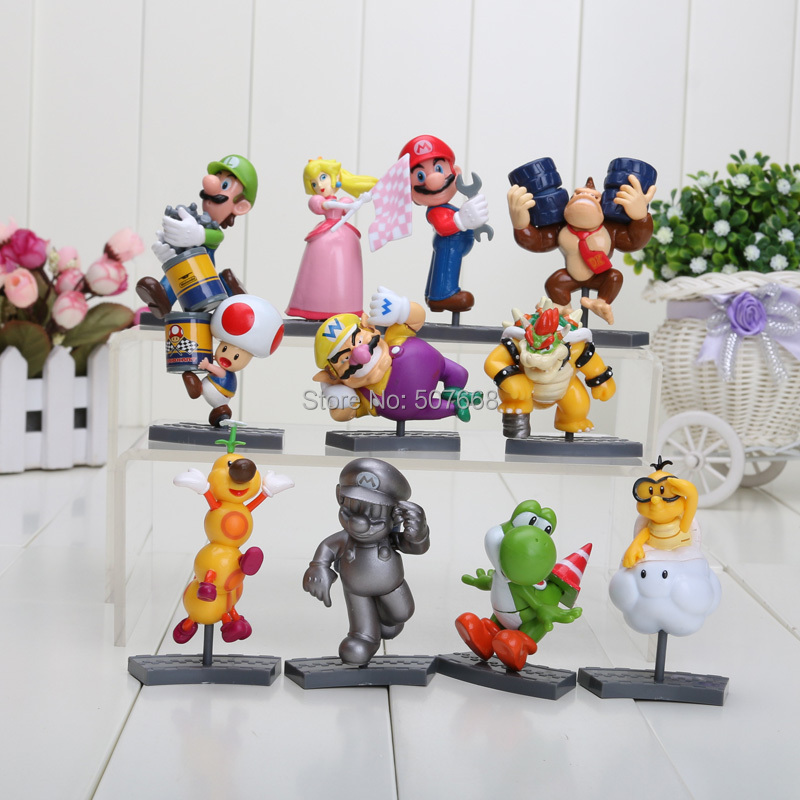 11style super mario 6-8 cm racing track princess koopa figures mairo train race colors retail package 11pcs/set(China (Mainland))