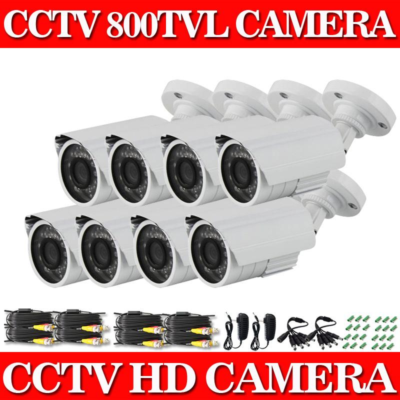 Гаджет  800TVL Outdoor CCTV Surveillance Camera 8pcs/lot 24 IR LEDs Weatherproof Outdoor 100ft Night Vision Security Camera System Kits None Безопасность и защита