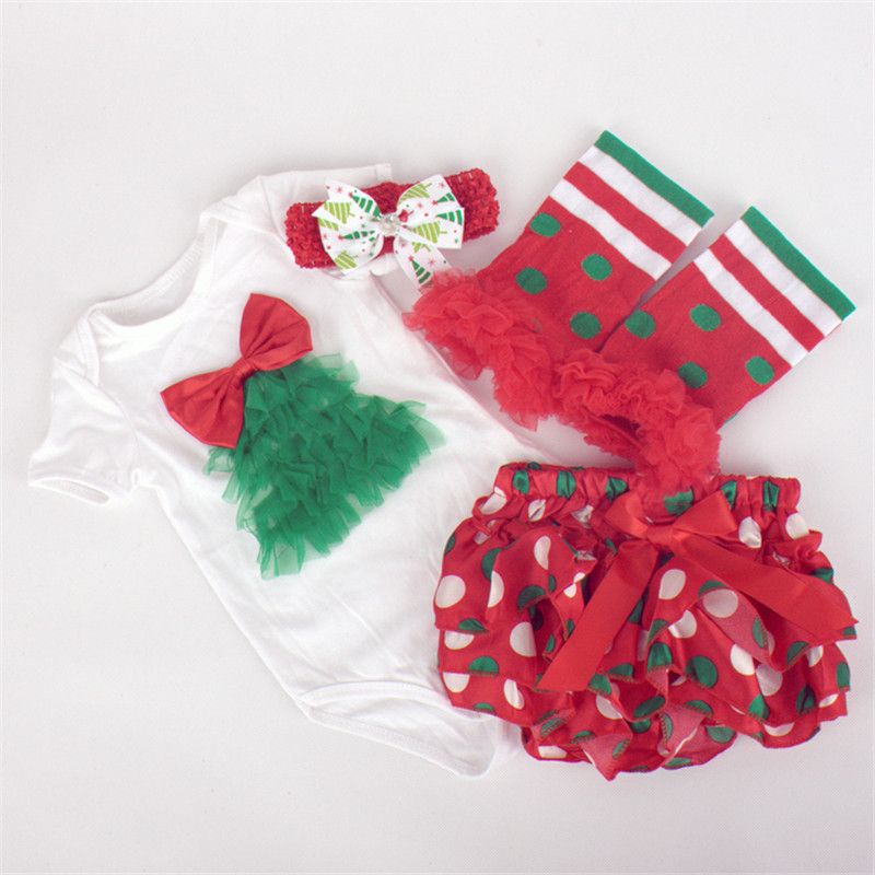 Fashonable Baby Xmas Clothing Sets Newborn First Birthday jumpsuits dress+band+socks+shoes Kids Christmas Infantiles Natal Rou(China (Mainland))