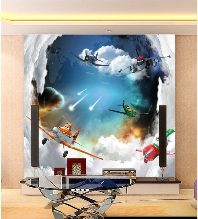 Aircraft general mobilization mural wallpaper 3d wallpaper for Children's room sofa TV background wall paper photo wallpaper(China (Mainland))