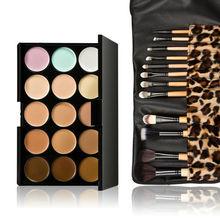 Beauty 15 Colors Contour Face Cream Makeup Concealer Palette 12pcs Leopard Brush  CA1T(China (Mainland))