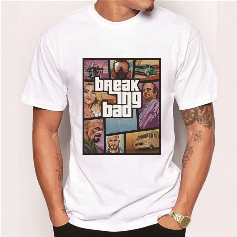 2016 s/s new Hot Sales Breaking Bad Characters Printing Men T-Shirt Short Sleeves Male Basic Tops Famous Boy Cool Tee Shirts(China (Mainland))