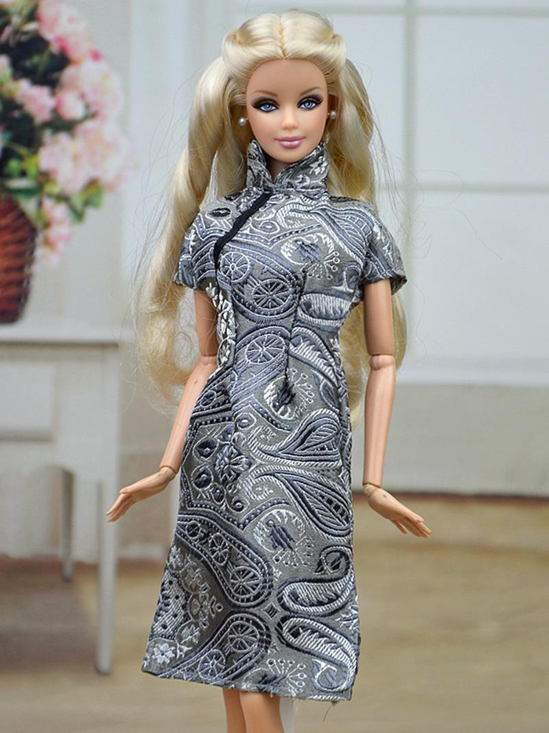 Handmade Chinese language Conventional Gown Qipao Vestido Gown For Barbie Doll Garments Cheongsam Distinctive Night Attire
