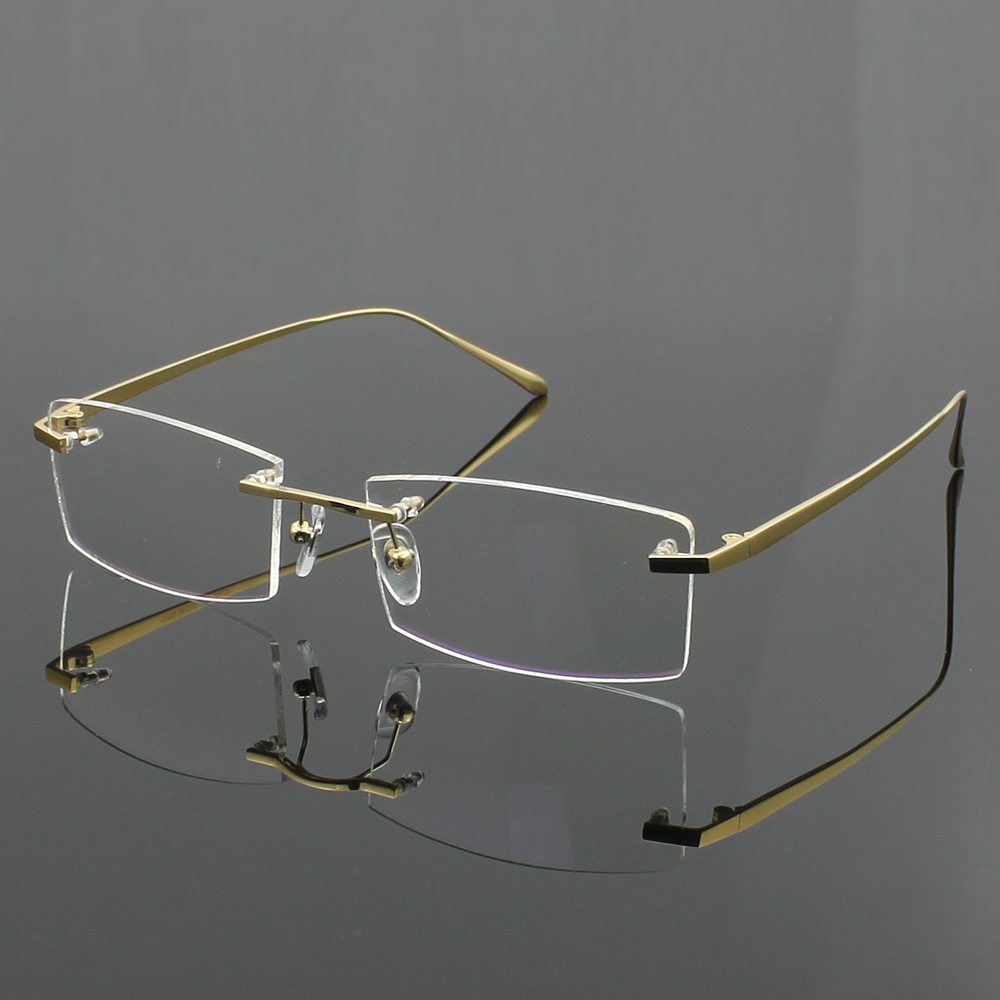 Rimless Glasses Lightweight : 100% Pure titanium Mens eyeglasses frame optical glasses ...