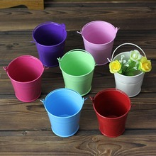 New 5x Mini Small Assorted Colored Tin Pails Buckets Wedding Party Potted Plants(China (Mainland))