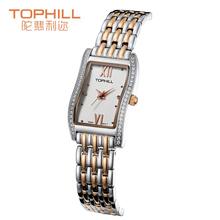 2015 del verano del estilo Tophill mujer elegante rectángulo marcado reloj de cuarzo tornillo bloqueado contraportada impermeable reloj de pulsera