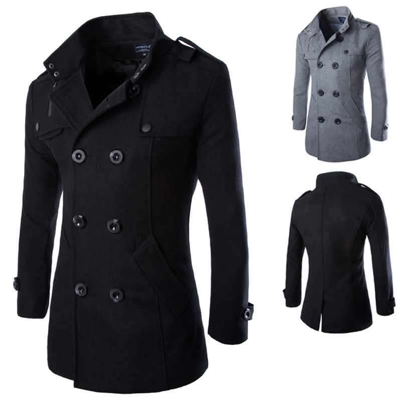 Hot Sale Solid 40% Wool Coat Men Casual Slim Fit Double Breasted Spring Autumn Trench Coat Men (Asian Size)(China (Mainland))