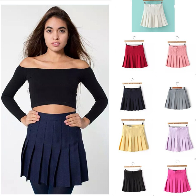new2015 summer American brand Apparel women skirt vintage high waist skirt short feminino bodycon pleated tennis skirt plus size(China (Mainland))