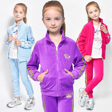 Buy Spring Autumn Girls Clothes Zipper Kids Jacket+Pants Velvet Tracksuit Girls Sport Suit Casual Children Clothing Sets DQ192 for $20.27 in AliExpress store