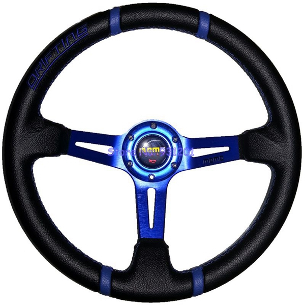 340mm Racing Car MOMO Drifting Steering Wheel 14 inch PVC MOMO Steering Wheel Blue Red Gold()