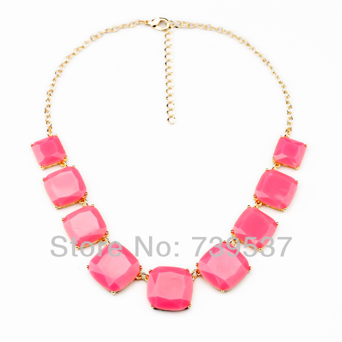 Trendy Style Handmade Women Collar Statement Necklaces Rectangle Red Green Color Choker Necklace Party