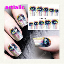 Gothic Eyes Manicure Nail Sticker Gradient Stick On 8134 Water Transfer Decals Polish DIY Nail Art Tips(China (Mainland))
